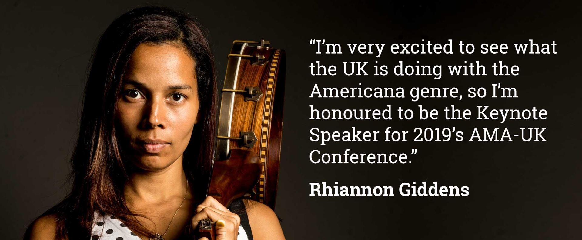 Rhiannon Giddens, keynote speaker at A.M.A.U.K. conference 2019.